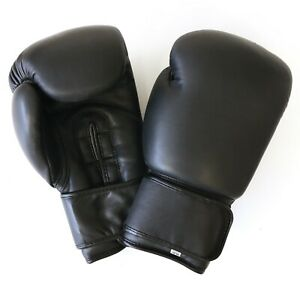 Boxhandschuhe Black Klettverschluss Echtes Leder Handcrafted 12oz  Vintage Retro