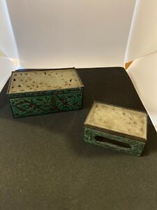 2 Antique Carved Chinese cigarette And Matchbox trinket Ornate boxes Jade Top