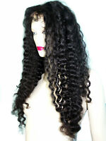 HUMAN HAIR Indian Remi Remy Full Lace Wig #1B Off Black Permed Jerry Curl