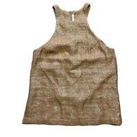 Willow Gold Metallic Top Size 12 Relaxed Fit Silk Blend Lightweight
