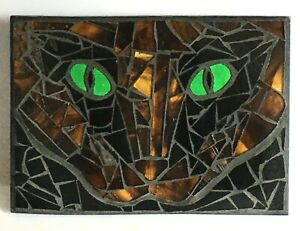 M007 Glass Mosaic Wall Art Picture 19.5cm x 14cm Abstract Tabby Cats Eyes