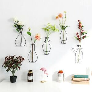 Iron Frame Vase Wall Hanging Plants Dried Flower Racks Bottle Decorative Shelves