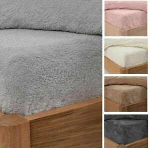 Teddy Bear Fleece Fitted Sheet Cover Sherpa 25CM Thermal Warm Bedding all size