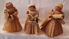 Corn Husk Dolls Handmade Set of 3 with Accessories Vintage