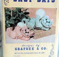Craft Pattern CAT Kitties w/ Balls of yarn Vtg 80s Krafdee & Co stuffed toy