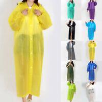 Adult Waterproof Jacket Clear PVC Plastic Raincoat Coat Hooded Poncho Rainwear