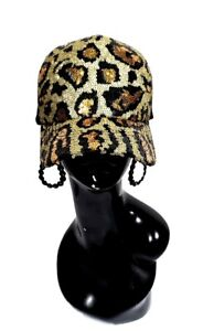 Leopard Sequin Classy Gold & Black Cap. **** Only 1 Available ****