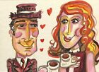 Coffee Couple Romantic Love  ACEO ATC original miniature collectible Painting