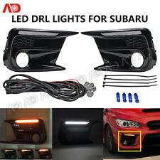 LED DRL LIGHT SEQUENTIAL LED TURN SIGNAL LAMP FOR SUBARU WRX 2018- SMOKED LENS