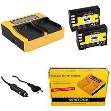 2x Batteria Patona + caricabatteria rapido DUAL LCD per Olympus C5060WZ
