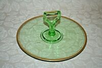 Vintage Early 20th Century Center Handle Green Depression Glass Serving Platter