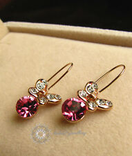 Pink Crystal Butterfly Hoop Earring/Rose gold/RGE265G
