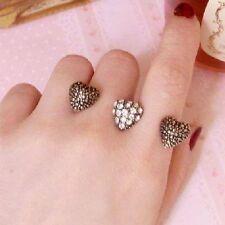 BAGUE DOUBLE 3 Cœurs strass cœur variable couleur or double deux 2 doigt anneau