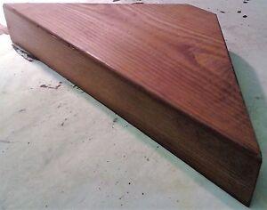 CORNER SHELF - Vintage style Solid Chunky Wood - WALNUT - LARGE SIZE