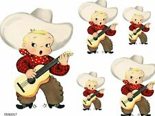 XL VinTaGe IMaGe SiNGinG CoWboY SHaBbY WaTerSLiDe DeCALs #2 ~FuRNiTuRe SiZe~