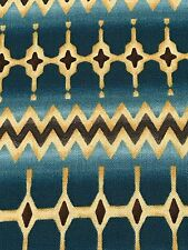 Fabric Tribal Blanket Design Teal Green Brown Diamond on Cotton by the 1/4 yard