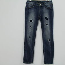 Imperial Star Studs & Chains Distressed Destroyed Blue Denim Jeans Juniors 11