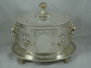 SUPERB, VICTORIAN silver plated BISCUIT BOX, c1880