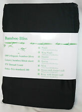 100% Organic Bamboo Luxury Fittted Sheet 375TC - King Bed Size - Black
