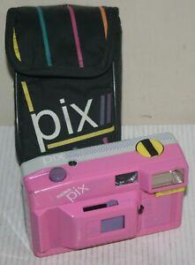 Halina PIX Electronic Flash - 35mm Film Camera & Case - Pink - Spares Or Repair