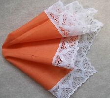 Vintage Handkerchief MENS Hankie Top Pocket Square LACE TRIM ORANGE