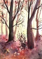 ACEO Autumn Fall painting original Wood trees landscape watercolor art card