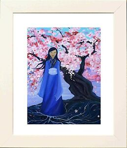 Quan Yin Picture in White Frame - Print from original by Keri Manning-Dedman