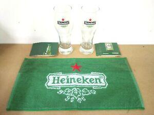 heineken lager pub home drip golf bar towel beer mat 2 glasses man cave gift set