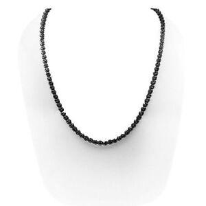 "Men's 15.00Ct  Round Black Tennis Necklace 14K Black Gold Over 16"""