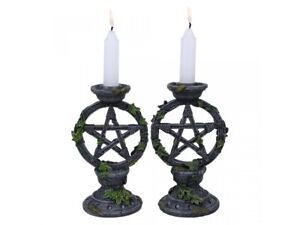 Nemesis Now - WICCAN PENTAGRAM GOTHIC CANDLE STICK HOLDERS Set of 2 Candlesticks