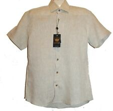 Bertigo Beige Linen Blue Lining Stylish Men's Shirt Sz M 3 $189 NEW