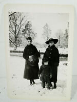 Antique Vintage Photo - Two Ladies and Boy - Outdoor Snow Scene - Coats 1918
