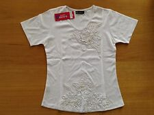 "NEW 32"" chest white beaded evening T shirt top Clamar"