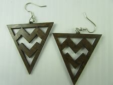 NEW geometric  wooden earrings Western red alder  Made in the Pacific Northwest