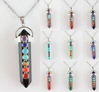 2016 Hot Natural Gemstone Chakra Healing Carved Sword Shape Pendant Necklace