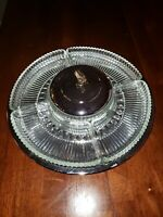 Vintage Kromex Revolving Lazy Susan Chrome With Glass Dishes