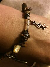 Tiger Eye Chipped Bead With Beige Seed Beads And Tree Branch Charm
