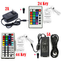 24/44 key IR Remote + 2A/5A Power Supply + DC for 3528 5050 RGB LED Strip Light