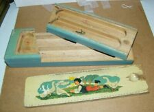 vintage old child's pencil wood box slide door,with 2 levels of openings boy