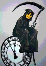 Banksy Grin Smiley Reaper Clock A4 Sign Aluminium Metal