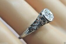 Antique Vintage Art Deco Diamond Engagement 18K White Gold Ring Size EGL USA