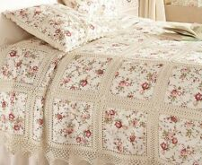 "Linen Lace Bed spread in Size 90""x 108"" Rose print"