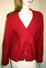 LAUREN HANSEN Dark Red Boiled Wool Ruffled Cardigan Sweater Jacket (M)