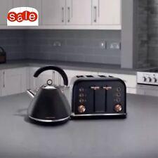 MORPHY RICHARDS Accents 242104 4-Slice Toaster & Kettle 102104 Black & Rose Gold