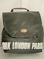 LADY'S BACKPACK IN BLACK COLOR WITH NEW YORK, LONDON, PARIS, TOKYO IN WHITE