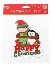 Christmas Window Stickers Decorations Gel Elf Penguin Clings Cute Kids Display