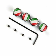 4 Pcs Italy Flag Car Wheel Tire Valve Caps Cover Stem Anti Theft Screws Wrench