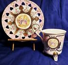 KPM Hand Painted & Gold Guilded Cup & Saucer Set! Footed Cup Reticulated Hearts