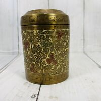 Vintage Round Brass Etched Tea Caddy India