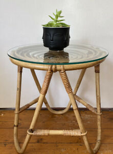 Vintage Mid Century Bamboo Hairpin Leg Cane Side Table Plant Spiral Tiki Stand